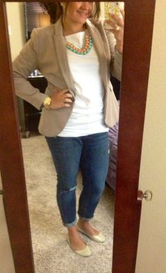 #ootd Casual Friday work outfit. Boyfriend jeans, khaki blazer, white tee, nude flats, coral/mint statement necklace
