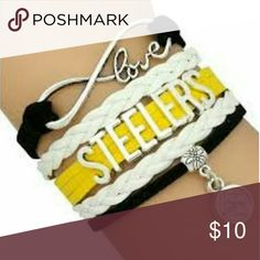 Pittsburgh Steelers Charm Bracelet Pittsburgh Steelers Bracelet, Pittsburgh Steelers Jewelry, Football Bracelet, NFL Bracelet  WHO LOVES FOOTBALL?! Show your Pride for the Pittsburgh Steelers with this handmade sports bracelet. This listing is for one Pittsburgh Steelers charm bracelet. 6 inches in length with an additional 2 inch extension. Absolutely adorable, you'll be in a hurry to show it off to your friends and family!  Perfect for Steelers Football Fans!! Jewelry Bracelets