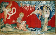 "In the late 16th century, the idea and concept of apocalyptism was rampant.  John Dee wrote that one of the angels he spoke with told him of ""treasures hoarded in the earth [that] were reserved for the destruction of the antichrist"".  This tapestry illustrates one medieval interpretation of the apocalypse as described in the book of Revelation. (7. [p. 708])"