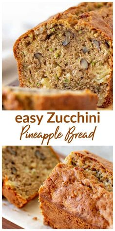 Moist and delicious Zucchini Pineapple Bread! With walnuts and some whole wheat … Moist and delicious Zucchini Pineapple Bread! With walnuts and some whole wheat flour, it is very easy to make and keeps really well. Zucchini Pineapple Bread, Zucchini Bread Recipes, Zucchini Cornbread, Zucchini Bread Muffins, Banana Bread, Recipe Zucchini, Dessert Bread, Bread Cake, Pavlova