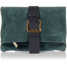 Dsquared2 Suede Leather Clutch with belt (¥15,535) ❤ liked on Polyvore featuring bags, handbags, clutches, purses, green, blue suede handbag, zip shoulder bag, shoulder handbags, blue purse and purse shoulder bag