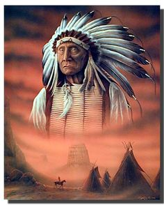Native American Framed Poster - Indian Chief with Tepee Wall Decor Black Picture Art Print Native American Print, Native American Pictures, American Indian Art, Native American History, Native American Indians, Native Indian, Native Art, Red Indian, Canvas Art