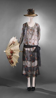Dress and Belt: ca. 1923, silk chiffon with multicoloured bead embroidery.
