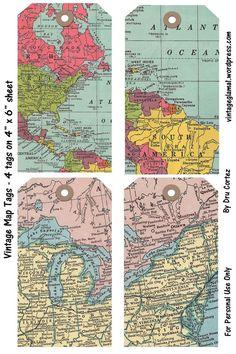 Free Digital Embellishments – Vintage Map Tags and Brads / Vintage Glam Studio Vintage Maps, Vintage Glam, Vintage Theme, Antique Maps, Vintage Ephemera, Vintage Stuff, Vintage Travel, Printable Tags, Free Printables