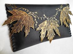 unique handmate leather clutch  Necklace of Leaves by spiculdegrau, $100.00