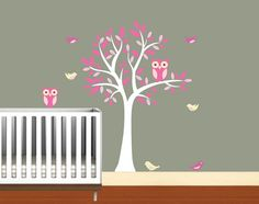 Girls Vinyl Wall Art Tree Decal  Nursery Birds by NurseryWallArt, $79.99