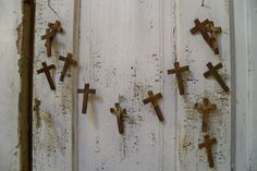 Rusty cross garland faux metal French chic by AnitaSperoDesign, $50.00