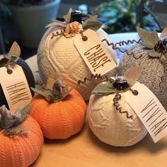 Sweater Pumpkins with Canvas Tags Odessa Rose Creates Chalk Couture Fall Mantel Decorations, Diy Halloween Decorations, Fall Decor, Fall Halloween, Halloween Crafts, Holiday Crafts, Fall Arts And Crafts, Sweater Pumpkins, Fall Projects