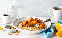 """This oatmeal bowl gets subtle sweetness from maple syrup and orange zest and an unusual ingredient — butternut squash. Cubed butternut squash, roasted with cinnamon, nutmeg and cardamom, adds a warm sweetness, think of it as the real """"pumpkin spice."""""""