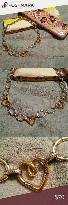 Brighton unique chain of hearts gorgeous Brighton silver and gold chain of hearts Brighton  Jewelry Necklaces