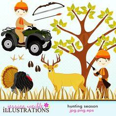 Hunting Season Cute Digital Clipart for Card Design, Scrapbooking, and Web Design