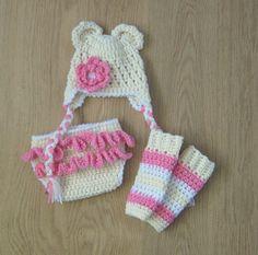 BEAR Ears Baby Crochet Hat with Flower Nappy by MadebyCrochetFairy, £25.50