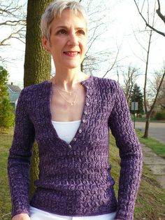 Knitspot--Anne Hanson--Henley with a Twist  These models are so skinny I am scared to think of what this would look like on me.