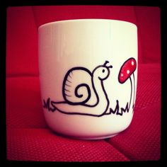 Toadstool Mug with snail and worm  hand painted