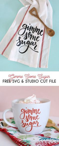 """Free svg and silhouette studio cut files - makes adorable """"gimme some sugar"""" baking-themed gifts - DIY mug and DIY dish cloth with vinyl and your silhouette studio cut files"""