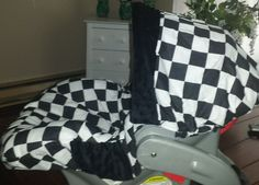 Racing Checkers Infant Car Seat Cover