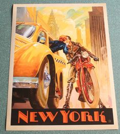 Vintage photo, New York Minute - This series of romantic travel art is made from original oil paintings by artist Kai Carpenter. Styled in an Art Deco flair, this adventurous scene is sure to bring a smile and a smooch to any classic poster art lover! Old Posters, Art Deco Posters, Illustrations And Posters, Vintage Illustrations, Movie Posters, Old School Art, Photo Vintage, Kunst Poster, Vintage Travel Posters