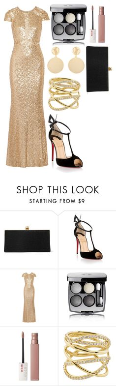 """Glistening Gold"" by blackest-raven ❤ liked on Polyvore featuring Jimmy Choo, Christian Louboutin, Badgley Mischka, Chanel, Maybelline, Lana and Mounser"