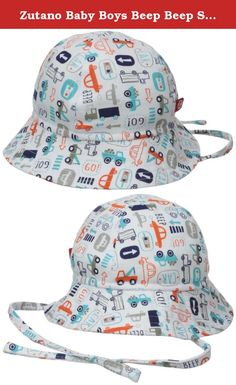 Zutano Baby Boys Beep Beep Sunhat, White, 12 Months. Our wide- brim sun hat with adorable chin ties will not only stay on but will keep your little one protected all summer long. Many moms attest that they do not leave the house without their baby's Zutano sun hat. Great, soft fabric filled with vibrant color.