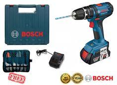 BOSCH GSB 18-2-LI 14.4V 2Ah Li-Ion Cordless Hammer Drill Driver Kit Bits New #Bosch