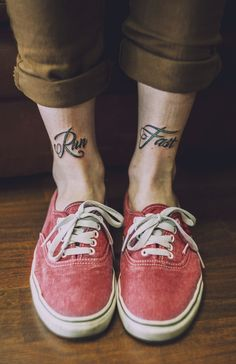 Run Fast. Beautiful Idea for a tattoo which can both be funny and yet hold so much meaning, Go To http://www.likegossip.com to get more Gossip News!