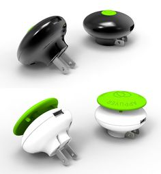GreenZero Chargers for your mobile device are more than just a cool looking charger. Its unique design turns off as soon as your device is fully charged which eliminates stand-by energy consumption. To turn it back on just give the big green button a kick. Did you even know about stand-by energy consumption? Now you do, so save yourself. Also available in a travel size shown above in black.