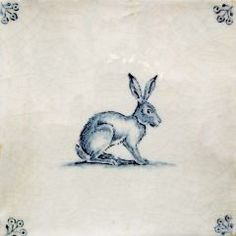 Reminds me of Beatrix potter. Delft Tiles, Blue Tiles, Antique Tiles, Rabbit Art, Bunny Art, Tile Art, Animal Design, White Porcelain, New Art