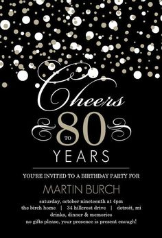 Black And Taupe Elegant Confetti 80th Birthday Invitation 80 Th Ideas 90th Parties