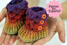 PATRÓN de CROCHET: Botitas Bebe modelo Cocodrilo por bonitapatterns