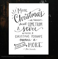The Grinch Quote Hand-Lettering White van HeyNormalDayShop op Etsy