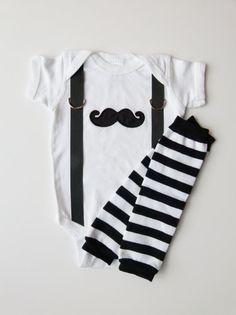 Mustache and Suspenders Baby Boy Onesie Leg Warmer by mamabijou, $33.00