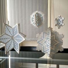 3D Snowflake ornaments hama beads by hrgronn