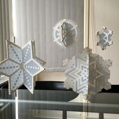 3D Snowflake ornaments hama beads by hrgronn