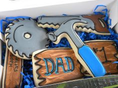 I didn't have alot of time to spend on Dad cookies, because I was spending more time on the delicious chocolate cake (recipe from sweetapolita). Dads don't care too much about cookie details, because the taste is what matters most! Man Cookies, Sugar Cookies, Tasty Chocolate Cake, Toolbox, Holiday Fun, Fathers Day, Cake Recipes, Dads, Bakery