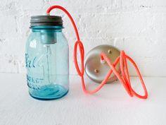 Industrial Lighting - Vintage Mason Ball Jar Pendant w/ Neon Orange Pink Color Cord