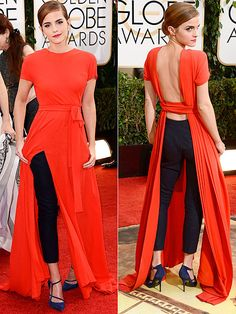love it. Emma Watson wearing short-sleeved Dior Haute Couture dress with open back and surprise black skinny pants - 71st Annual Golden Globe Awards 2014