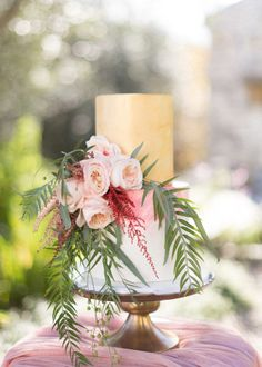 Flower topped wedding cake: http://www.stylemepretty.com/destination-weddings/2017/02/07/a-dream-dress-and-greece-make-for-the-most-beautiful-combo/ Photography: Adrian Wood - http://www.adrianwoodphotography.com/