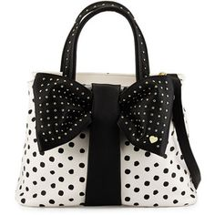 Betsey Johnson Bow-Tie Polka-Dot Shopper Tote Bag