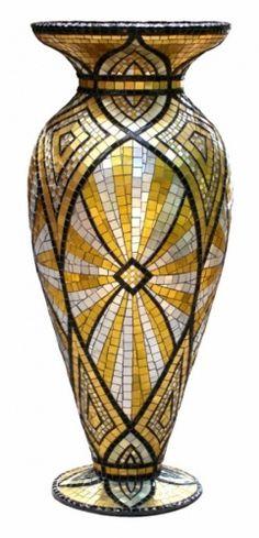 "Contemporary Mosaic - ""Skin Deep"" (Original Art from Jacqueline Iskander) Mosaic Planters, Mosaic Vase, Mosaic Flower Pots, Pebble Mosaic, Mosaic Crafts, Mosaic Projects, Mosaic Bottles, Mosaic Madness, Murano"