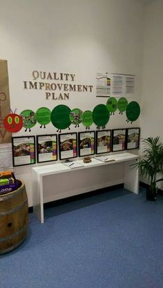 Neat idea to present our accreditation work plan QEP School Displays, Classroom Displays, Classroom Decor, Childcare Environments, Childcare Rooms, Learning Environments, Early Education, Early Childhood Education, Preschool Classroom