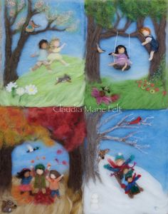 Waldorf Seasons Autumn Needlefelt Wool by ClaudiaMarieFelt on Etsy Needle Felted, Wet Felting, Waldorf Crafts, Felt Pictures, Character And Setting, Needle Felting Tutorials, Wool Art, Felt Patterns, Wool Applique