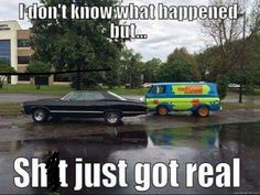 Supernatural 1967 Impala - Scooby Doo Mystery Machine - Mindskin - Funny Pictures and Junk Memes Humor, Funny Memes, Messed Up Memes, Spn Memes, Movie Memes, Humor Quotes, Funny Gifs, Funny Videos, Wisdom Quotes