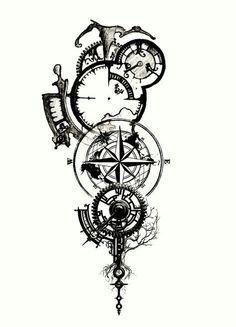 Clockwork tattoo- I like the elements of this one Forarm Tattoos, Body Art Tattoos, Sleeve Tattoos, Tattoo Thigh, Clockwork Tattoo, Compass Tattoo Design, Compass Drawing, Viking Tattoos, Symbolic Tattoos