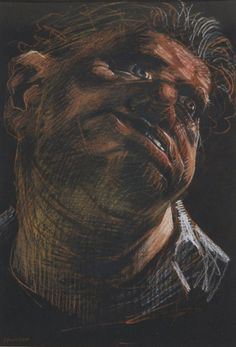 'Lowland Hero 19' by Peter Howson, 1993, chalk on paper, 53.5x42.5x2cm