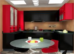 NO.14. Design Explanation: The accent colors are red and black. Red bringsvitality to the whole kitchen and shows the positive attitude towards life; black keepsthe kitchen decent and shows your vigorous pursuit of success.
