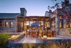 living room of rustic mountain luxury timber frame home with traditional interior design Outdoor Cabana, Indoor Outdoor, Chapel Hill, Patio Design, Exterior Design, Rustic Exterior, Fresco, Outdoor Spaces, Outdoor Living