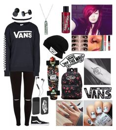 """""""Vans off the wall"""" by emmcg915 ❤ liked on Polyvore featuring Vans, Maybelline, Manic Panic NYC and Skullcandy"""