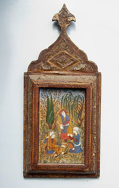 ANTIQUE HAND MADE PERSIAN MINIATURE PAINTING W KHATAM INLAID MARQUETRY FRAME