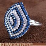 Genuine Sterling Silver Blue And White Cubic Zirconia Ring
