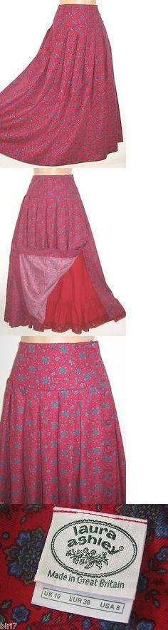f0d68b5acc Skirts 175791: Laura Ashley Vintage Crimson Tudor Flower Brushed Cotton  High-Waist Skirt, 8 10 -> BUY IT NOW ONLY: $85 on #eBay #skirts #laura # ashley ...